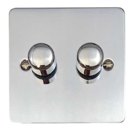 G&H FC12 Flat Plate Polished Chrome 2 Gang 1 or 2 Way 40-400W Dimmer Switch